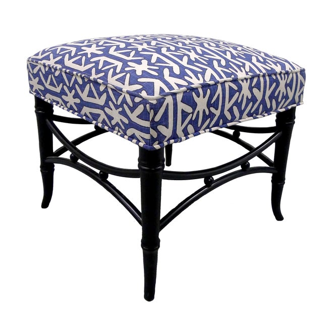 Black Faux-Bamboo & Blue Upholstered Stool For Sale - Image 4 of 5