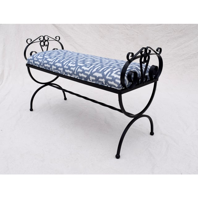 Neoclassical Wrought Iron Curule Base Bench For Sale - Image 3 of 9