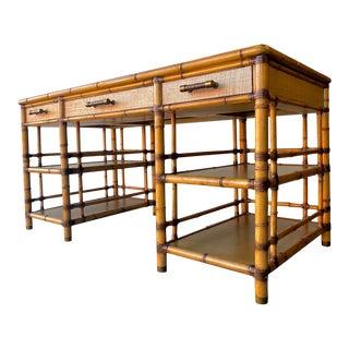 Tommy Bahama for Lexington Faux Bamboo Pedestal Desk For Sale