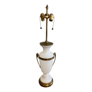 Warren Kessler New York Opaline and Brass Lamp For Sale