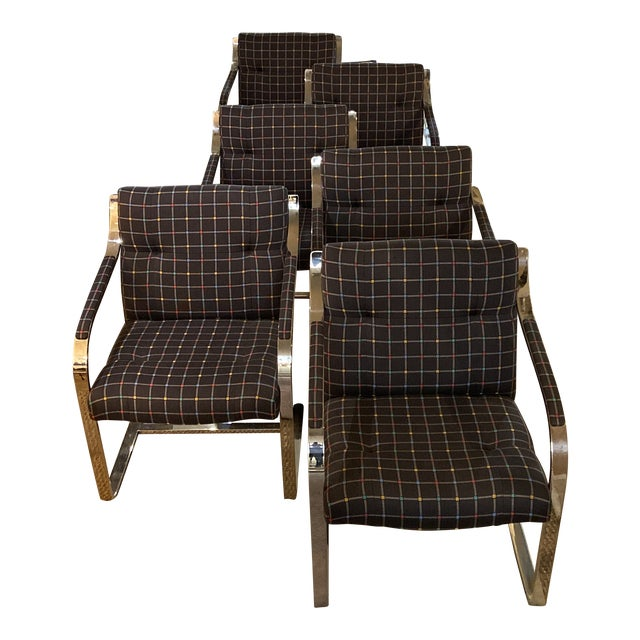 Mid Century Modern Chrome Over Steel Brueton Chairs - Set of 6 For Sale