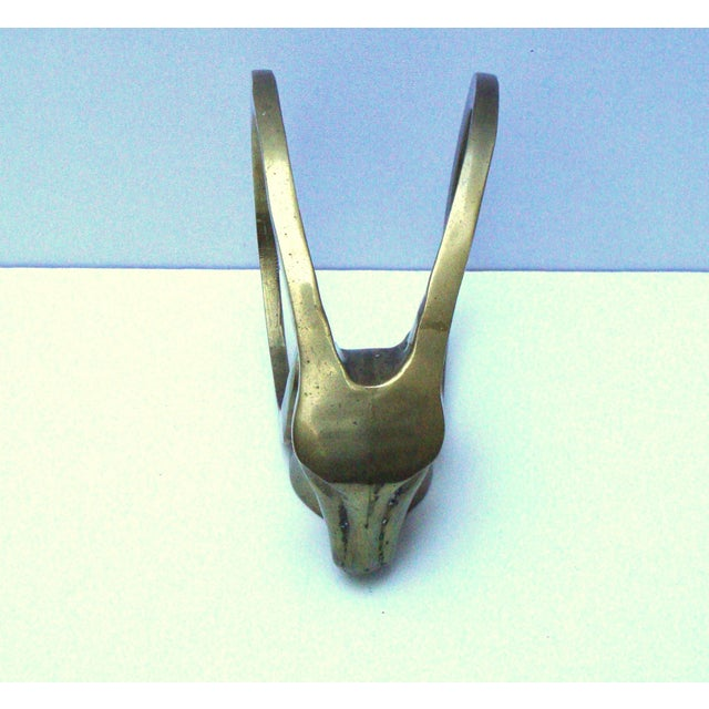 Hollywood Regency Brass Antelope Horns Sculpture - Image 6 of 8