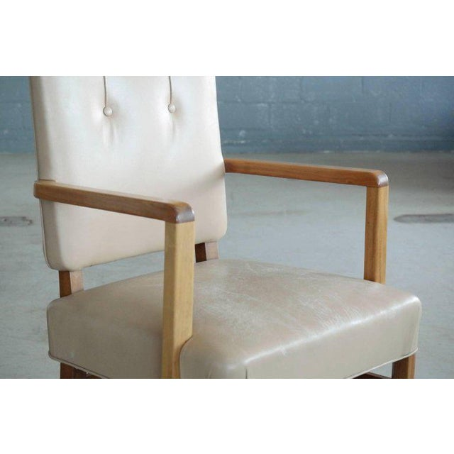 Pair of Danish Midcentury Executive Desk or Side Chairs in Beige Leather For Sale - Image 4 of 9