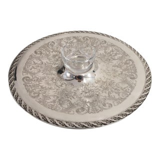 Serving Tray with Cut Glass Sauce Bowl For Sale