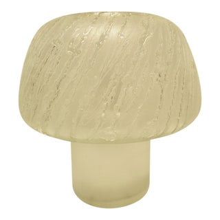 Mid Century Modern Italian Frosted Glass Mushroom Lamp Rare Etched Wave Design Circa 1970's For Sale