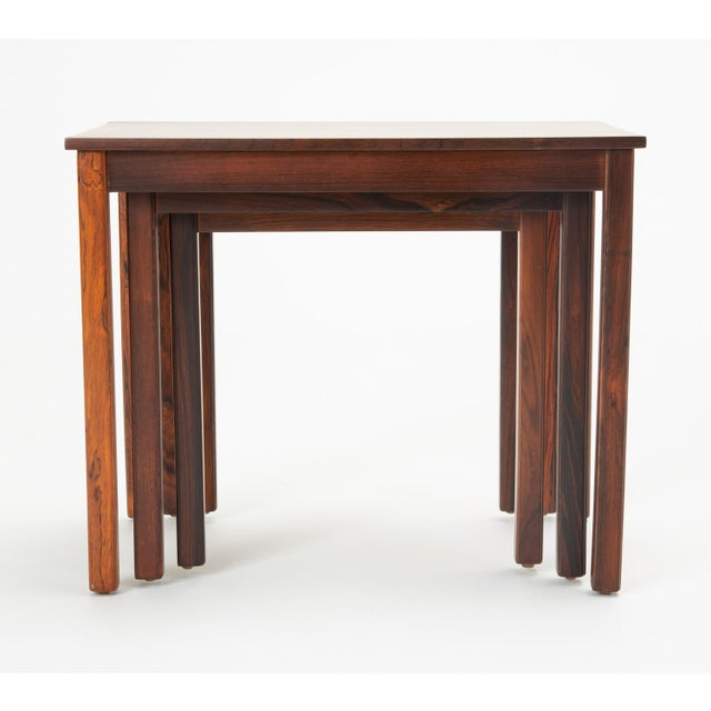 Brown Danish Modern Rosewood Nesting Tables - Set of 3 For Sale - Image 8 of 12