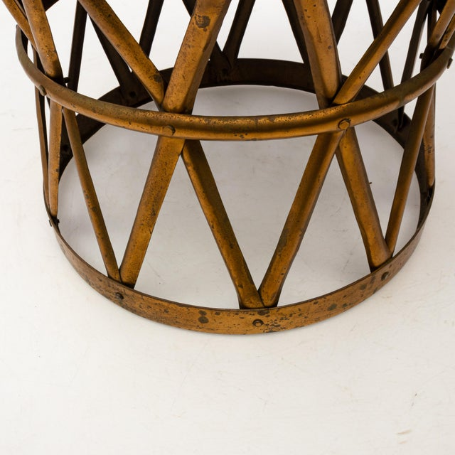 Hollywood Regency Brass Drum Table For Sale In New York - Image 6 of 7