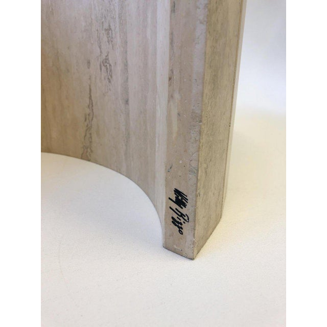 Oval Italian Travertine Cocktail Table by Willy Rizzo For Sale In Palm Springs - Image 6 of 11