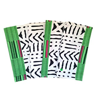 African White Green Print Fabric Napkins - Set of 6 For Sale