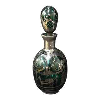 Venetian Green Glass Decanter with Silver Detail