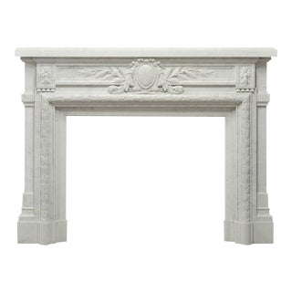 Antique French Louis XVI Fireplace Mantel in Carrara White Marble For Sale
