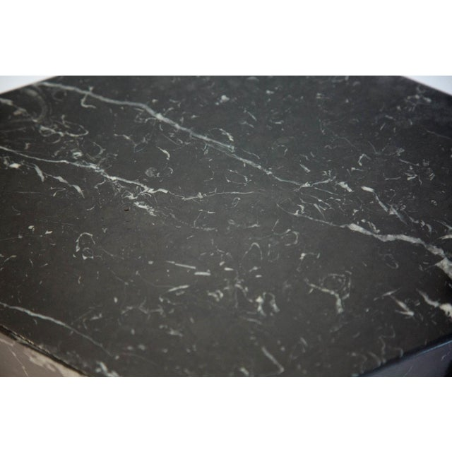 1980s Geometric Black and White Marble Console Table With Glass Top 1980's For Sale - Image 5 of 6
