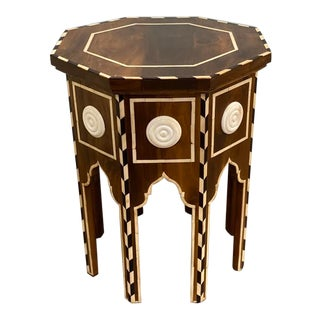 Indian Octagonal Wooden Coin Table For Sale