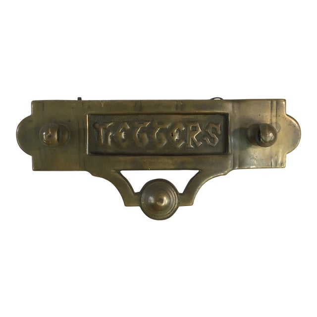 Antique Victorian Brass Mail Slot For Sale