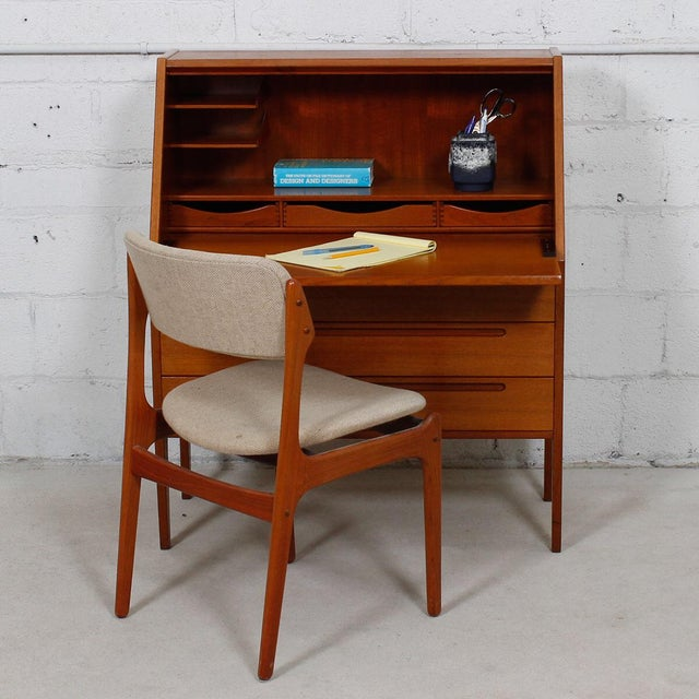 Danish Modern Teak Drop Front Secretary Desk - Image 10 of 10