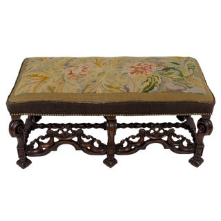 Charles II Style Needlepoint Carved Walnut Bench For Sale