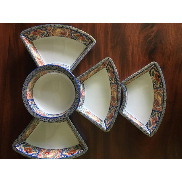Late 20th Century Japanese Ceramic Appetizer Serving Set of 5 For Sale - Image 5 of 13