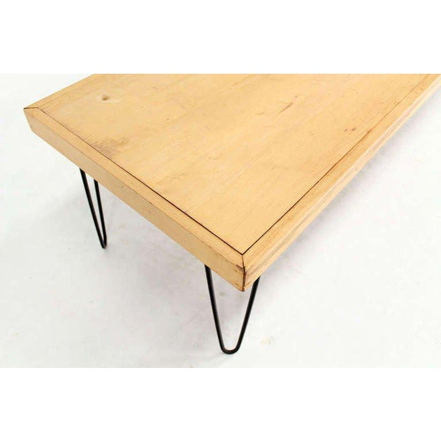 Large Rectangular Vintage Solid Birch-Top with Hairpin Leg Coffee Table For Sale - Image 4 of 7