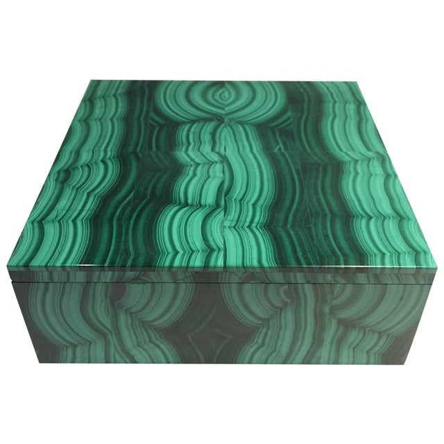 Large Square Bookmatched Malachite Box with Removable Lid Made in India For Sale - Image 9 of 9