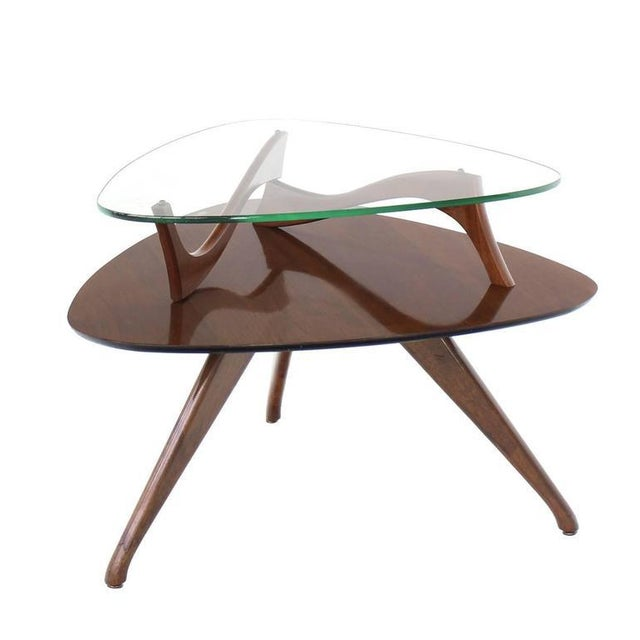 Pair of Round Triangular Tri Legged Two Tier Side End Tables For Sale In New York - Image 6 of 10