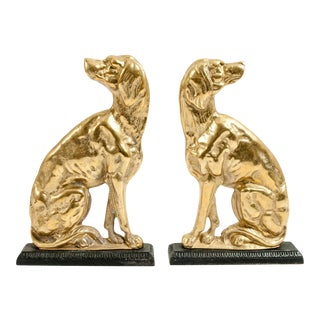 Brass North American Dog Doorstops or Bookends - a Pair For Sale
