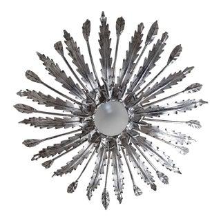 Hollywood Regency Silver Sunburst Semi-Flushmount For Sale