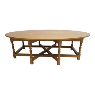Custom English Carved Oak Oval Coffee Serving Table For Sale