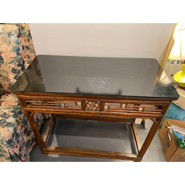 1960s Boho Chic Bamboo Walnut Console Table For Sale - Image 4 of 9