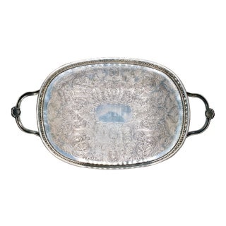Art Deco English Silver Plate Handled Tray With Gallery For Sale
