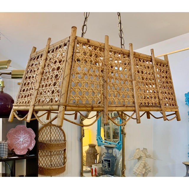 Boho Chic Caned and Rattan Chandelier For Sale - Image 3 of 4