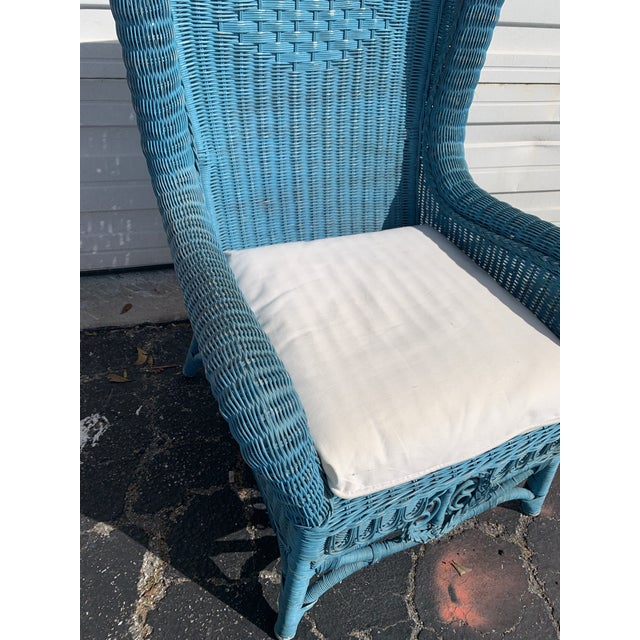 Cornflower Blue Vintage Polo Ralph Lauren Wicker Chair and Ottoman For Sale - Image 8 of 13