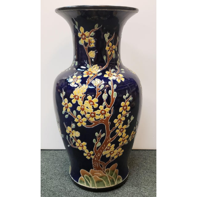 Late 19th Century Circa 1880 French Longwy Style Pottery Enameled Yellow Cherry Blossom Motifs Baluster Vase For Sale - Image 5 of 9