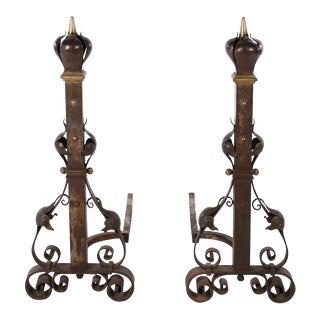 19th Century Vintage Bronze & Iron Fireplace Andirons- a Pair For Sale