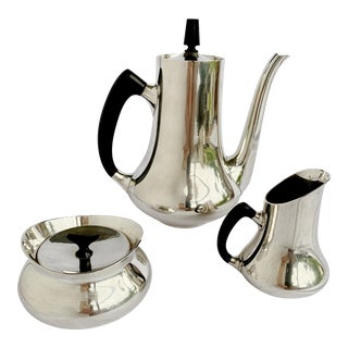 Vintage Hans Bunde for Cohr Denmark Epns Silver Coffee / Tea Set Danish MCM For Sale