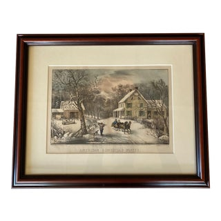 "Currier & Ives ""American Homestead Winter"" Handcoloured Lithograph For Sale"