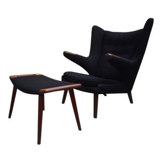Hans Wegner Papa Bear Chair & Ottoman For Sale