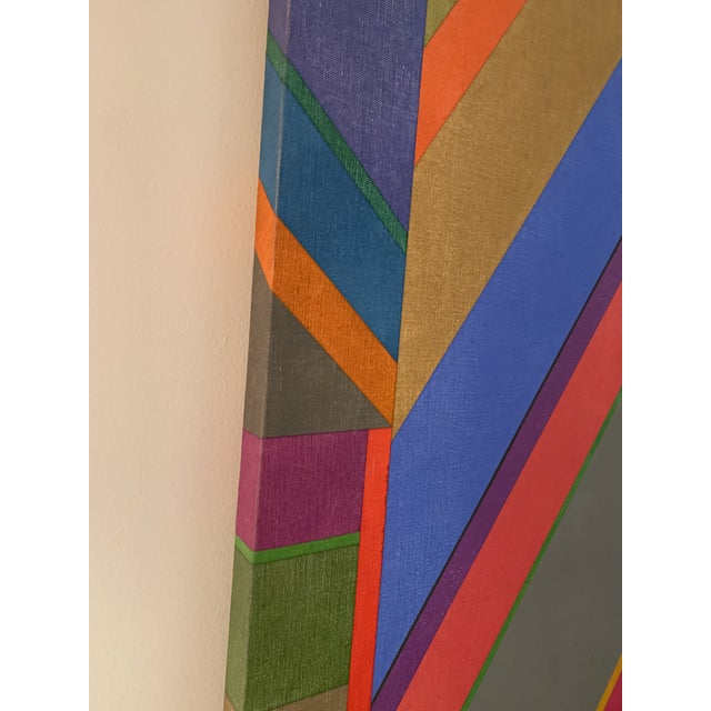 Blue Large 1970s Graphic Hardedge Geometric Painting by Roland Ginzel For Sale - Image 8 of 12
