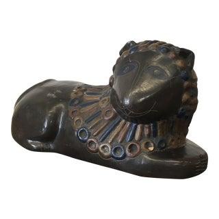 Vintage Clay Persian Lion Sculpture