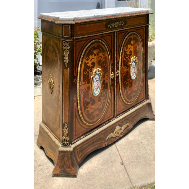 Antique 19c Dutch Marquetry Inlaid Marble Top Buffet Cabinet W German Porcelain Medallions For Sale - Image 4 of 6