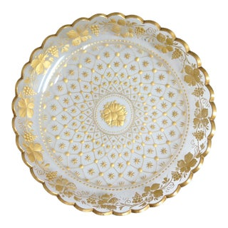 Antique Moser Crystal and Gold Dish For Sale