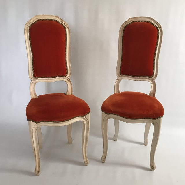 Vintage Upholstered Side Chairs A Pair Image 11 Of