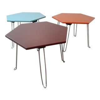 Vintage Hexagonal Collapsible Side Tables - Set of 3 For Sale
