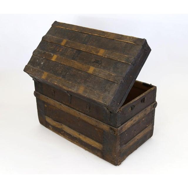 Large Antique Hardwood Steamer Trunk For Sale - Image 5 of 11