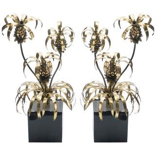 Rare Pair of Hollywood Regency Brass Maison Jansen Pineapple Floor Lamps, 1970s For Sale