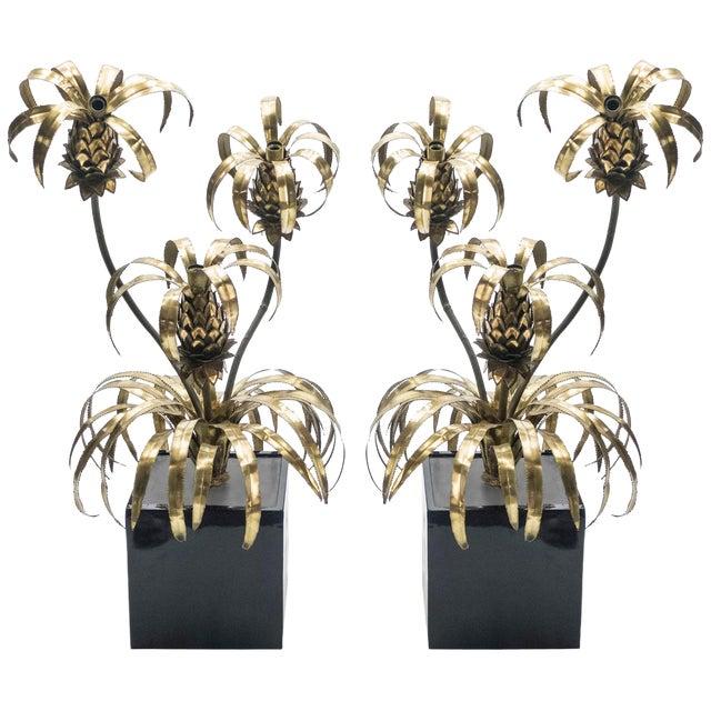 Rare Pair of Hollywood Regency Brass Maison Jansen Pineapple Floor Lamps, 1970s For Sale