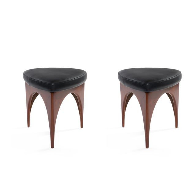 Blue 1960s Allen Ditson Wood and Leather Ottomans - a Pair For Sale - Image 8 of 8