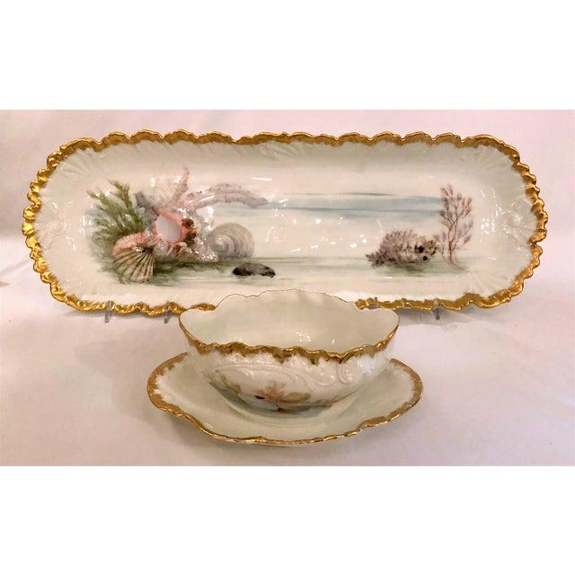 "Antique French Limoges Porcelain Fish Service of 12 Plates, 1 Platter and 1 Sauce Bowl. Plates: 8 1/2"" Diameter Platter:..."