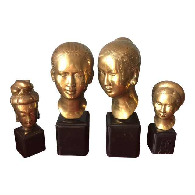 Asian Female Head Sculptures - Set of 4 For Sale