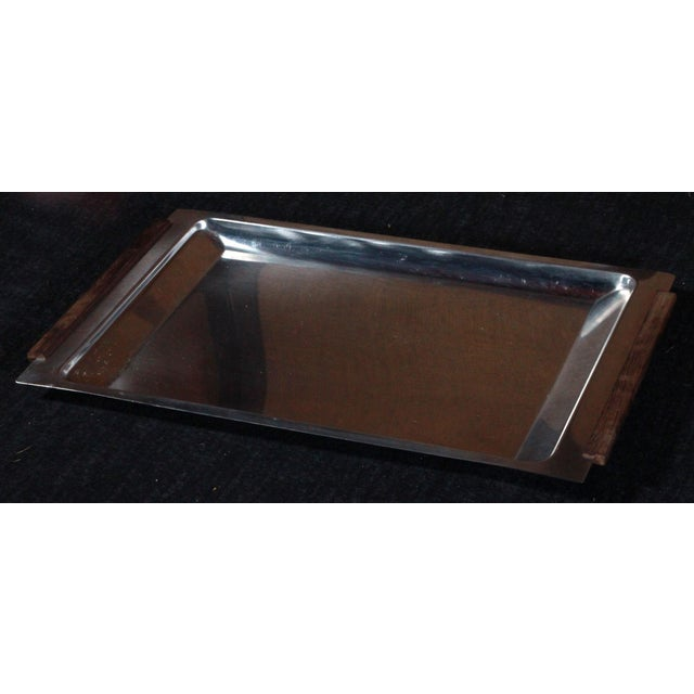 Vintage Danish Modern Stainless Steel & Teak Tray - Image 2 of 8