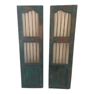 Antique Teal Stable Doors - A Pair For Sale